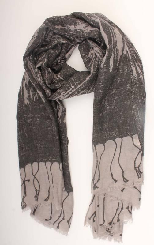 Sjaal Scarf on scarf - zwart/grijs