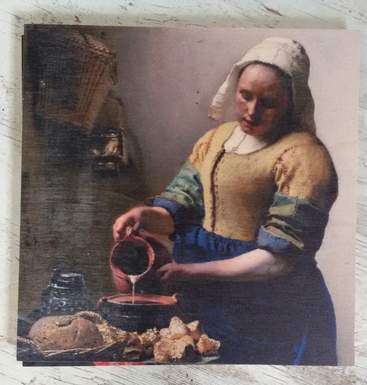 Houtprint Het Melkmeisje - 30x30