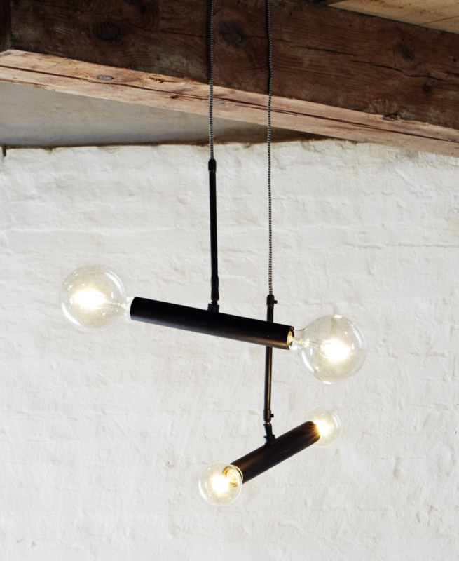 Plafondlamp, zwart - metaal