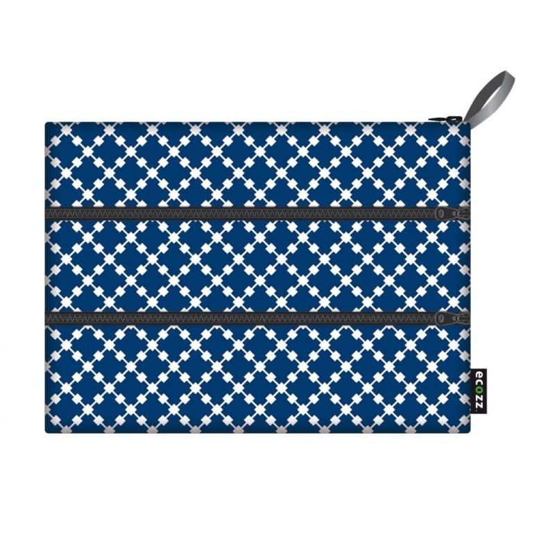 Ecozz Zip Bag Squares - blauw
