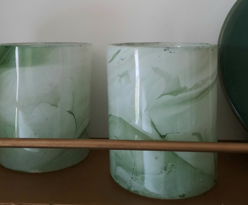 Waxinelichthouder - glas, groen