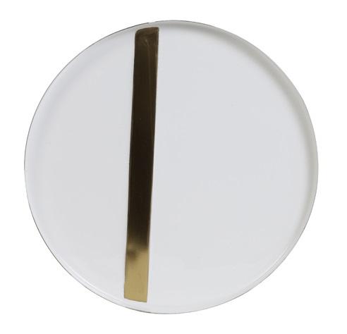 Schaal op voet, wit/goud - L