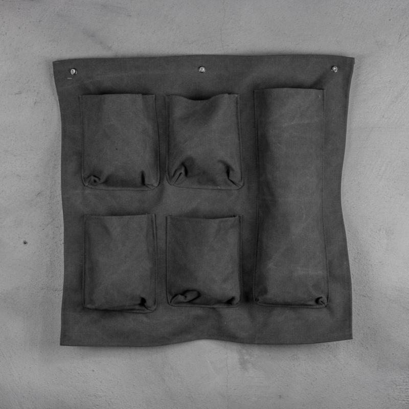Canvas wandhanger met vakken - antraciet