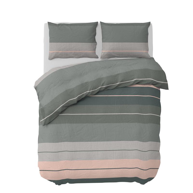 Dekbedovertrek Striped Linen - groen, 1-pers