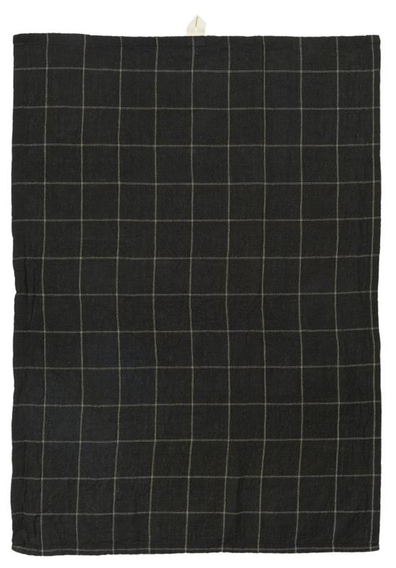 Theedoek Checkered - zwart