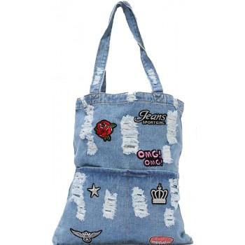 Shopper/tote bag - stonewashed denim