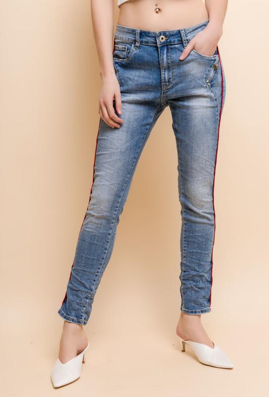 Jewelly jeans met bies