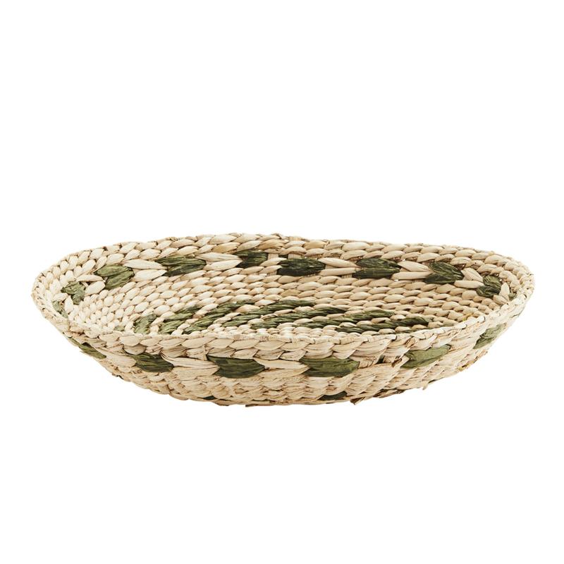 Wicker schaal - naturel/groen