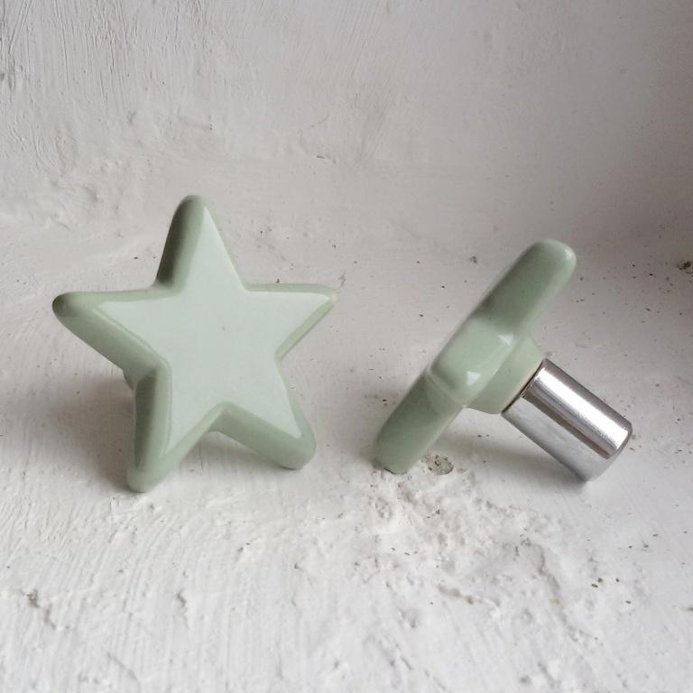 Wandknop Ster - mint