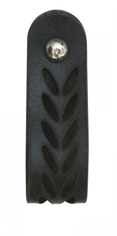 Leren greep met bladpatroon - zwart