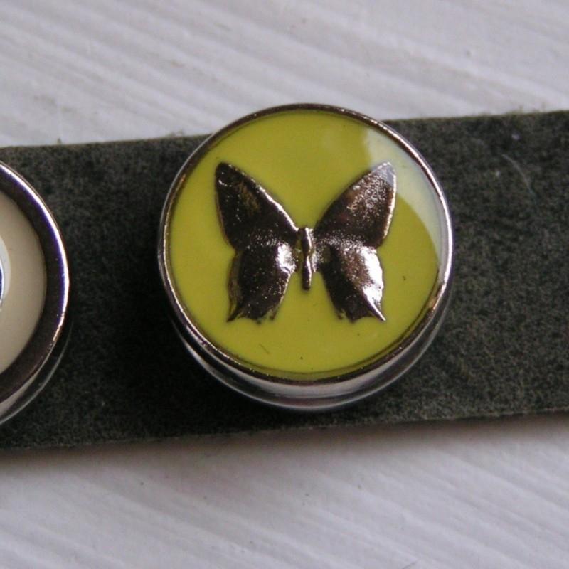 133 Clickbutton Vlinder - geel