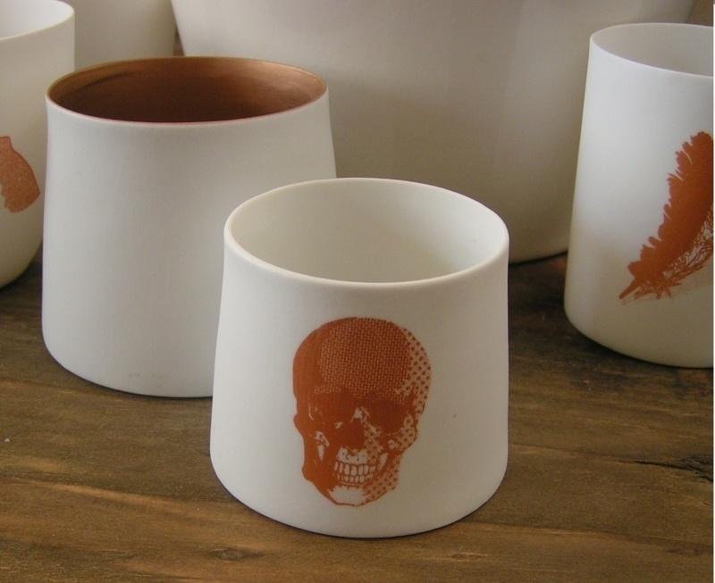 Waxinelichtje Skull - koper