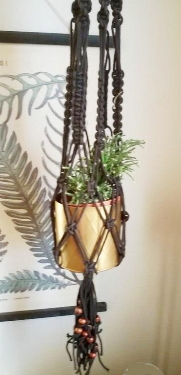 Macramé hanger - zwart, beads