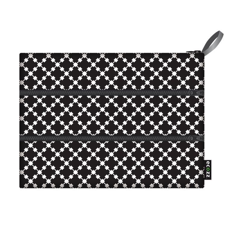 Ecozz Zip bag Squares -zwart