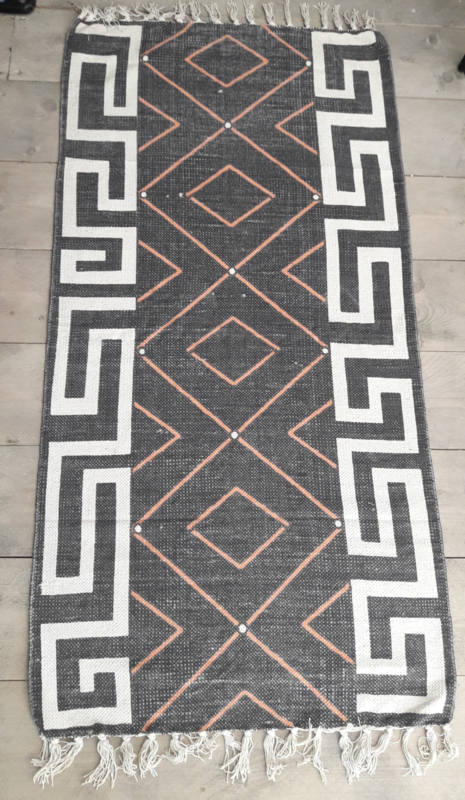 Vloerkleed Inca - zwart/ecru/roest