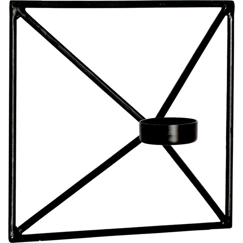 Wandkandelaar Square - zwart