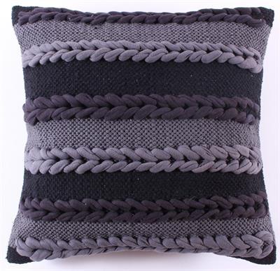 Kussenhoes  Plait - zwart/grijs