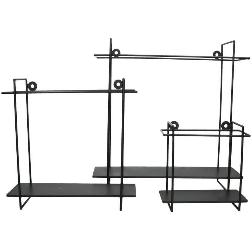 Metalen wandplankje - zwart