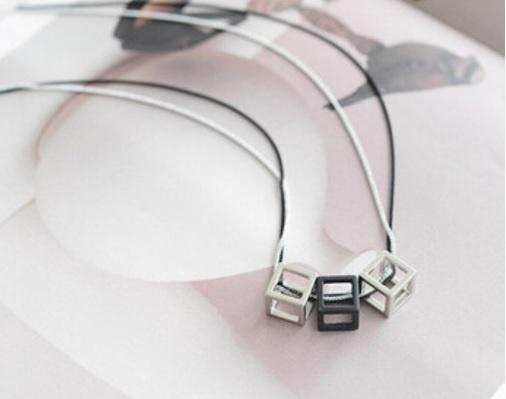 Ketting Cubes - zilver/zwart