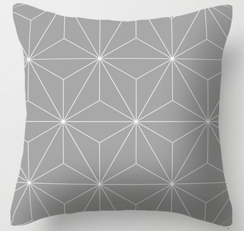 Kussenhoes Graphic - grijs/wit