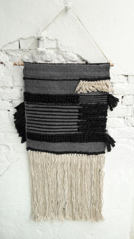 Wandkleed Squares - zwart/grijs/ecru