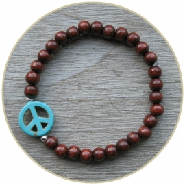 Armband `Peace!` turquoise ECHT ZILVER