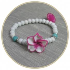 Armband Frangipani wit/roze/turq.