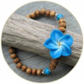 Armband  `Frangipani` blauw ECHT ZILVER