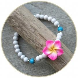 Armband `Frangipani` roze-wit-turquoise ECHT ZILVER
