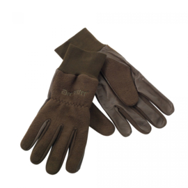 Fleece handschoen met leer
