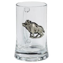 Bierglas met afbeelding zwijn