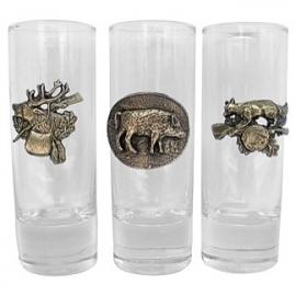 Borrel glazen met jacht motief