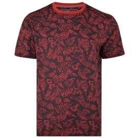 KAM Jeanswear T-shirt palm print rood