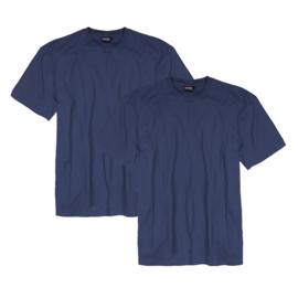 Adamo T-shirt ronde hals Marlon blauw 2-pack