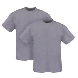 Adamo T-shirt ronde hals Marlon grijs 2-pack
