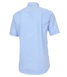Casa Moda Overhemd korte mouw licht blauw gewerkt