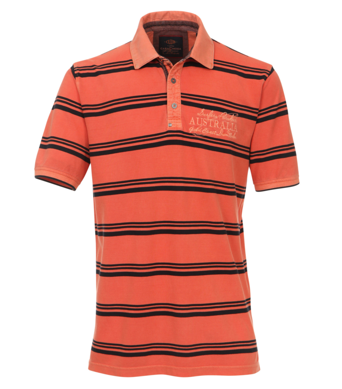 Casa Moda polo vintage oranje navy gestreept