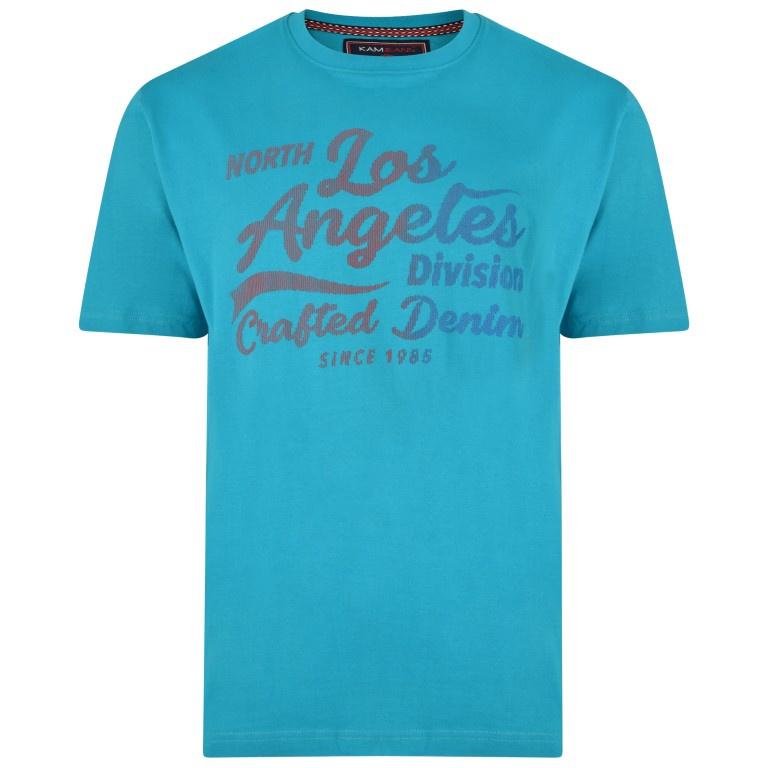 KAM Jeanswear T-shirt LA 3D print aqua