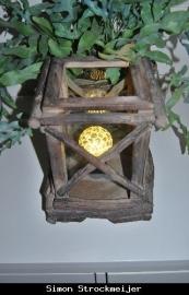 Lantaarn met glas hout