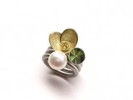 Set van 3 swivel ringen: Goldblute, Kelch en Perlen