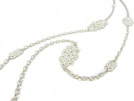 Lang zilver collier 'Turandot'