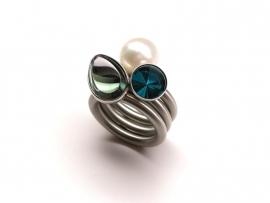 Set van 3 swivel ringen: Perlen, Kelch, Auster