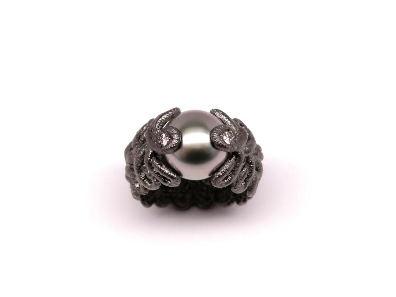 Zilveren ring met thahiti parel en diamant