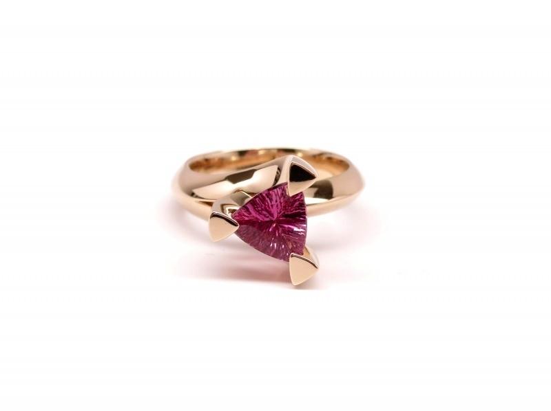 Roségouden ring met 1,44ct roze toermalijn