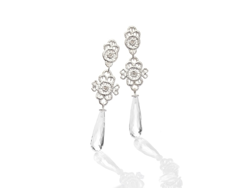 Zilveren oorstekers 'Boheme' gezet met diamant