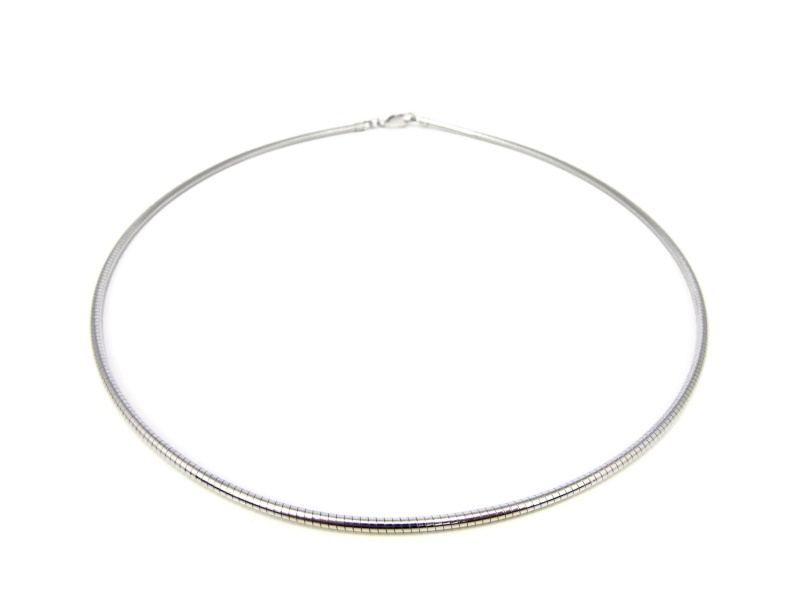 Zilveren omega collier 2mm