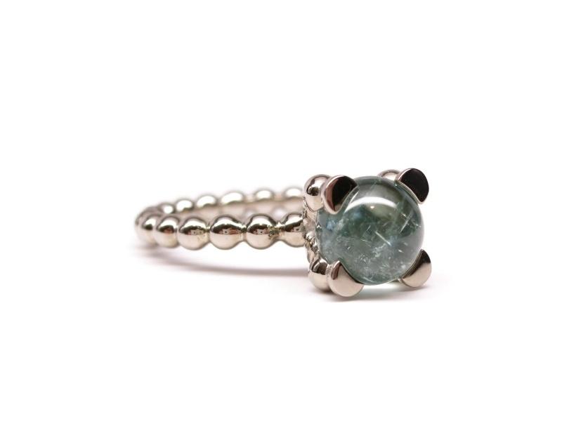 Witgouden 'parelrand' ring met toermalijn