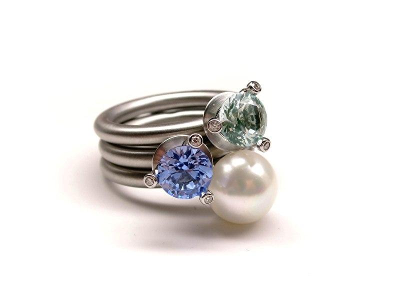 Set van 3 swivel ringen: Trias mittel en perlen