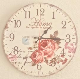 Stille Wandklok ''Pink Flower'' - 30 cm