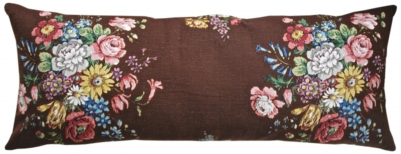 *VINTAGE* XL Floral Cushion CHOCOLATE